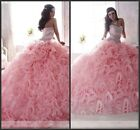 New Pink Gorgeous Quinceanera Pageant Ball Gown Wedding dress Prom Party dress