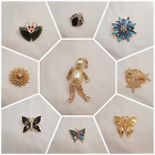 9 Different Unique Vintage Jewelry Butterfly Clown Rhinestone Ladybug Brooch Pin
