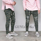 Vintage Damaged Mens Military Camouflage Slim Banding Span Cotton Pants Guylook
