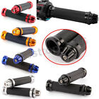 "Multi-Color CNC ALUMINUM MOTORCYCLE BLACK RUBBER GEL HAND GRIPS 7/8"" HANDLEBAR"