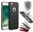 Ultra Thin Slim Hard Case Cover For Apple iPhone 6 7 8 Plus + Tempered Glass