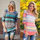 New Fashion Women Casual O-neck Long Sleeve Striped Knit Tops Loose T-Shirt C5