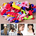 100Pcs Candy Color Elastic Hair Ties Knotted Hairband Ponytail Holder Set