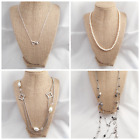 4 Unique Vintage-Modern Jewelry Faux Pearl Long Infinity Rhinestone Necklaces