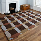 PURE WOOL BROWN BEIGE GREY EXTRA LARGE MULTICOLOURED 200x300cm FLATWOVEN KILIM