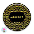 Personalised Art Deco Gold FOIL Print Compact/Makeup/Travel Pocket Mirror (58mm)