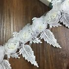 Pop Lace Trims Rose Flowers Leaf Tulle Trimmings Clothes Sewing Handicrafts 3 Yd