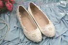 #O  Women New  Lace white ivory crystal Wedding shoes  pumps Bridal heels #009