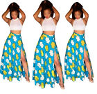 2Pcs African Digital Print Beach Long Fluffy Dress national style Tops Skirt