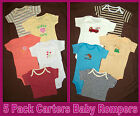 CARTERS BABY 5 Pk BODYSUITS ROMPERS - Boy or Girl BodySuit - 3 6 9 12 mths - NEW