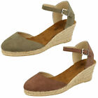 LADIES BLACK, KHAKI OR BROWN WEDGE HEEL ESPADRILLE SANDALS - F2255 CC