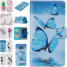 Flip PU Leather Painted Card Slots Cover Case Wallet For Samsung Galaxy Holster