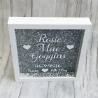 BABY GIRL BOY NEWBORN Personalised Glitter Box Frames Pink Silver Gift PRESENT