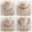 4 Vintage - Now Jewelry Blue Fx Pearl Black Rhinestone Choker Style Necklaces