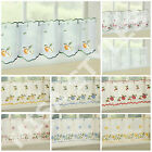 KITCHEN VOILE CAFE NET CURTAIN PANEL READY MADE ~ PLAIN EMBROIDERED NEW DESIGNS