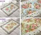 French Native land Shabby Chic Cottage Floral Blue Quilted Floor Door Bath Mat Rug