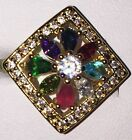 NEW 10Kt Yellow Gold Plated Square Colourful Crystal Cubic Z Cocktail Ring