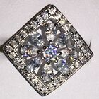 NEW 10Kt  White Gold Mix Plated Square White Crystal Cubic Zircon Statement Ring