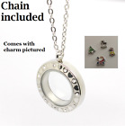 Stainless Steel Floating Charm Locket Living Memory Pendant Necklace Heart Stone