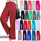 LADIES WOMENS NEW LOOSE WIDE LEG PLAIN PALAZZO TROUSERS PANTS SIZE UK 8-26