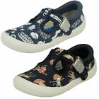 Clarks Boys Doodles Briley Sky 17 Fst Navy T-Bar Pumps