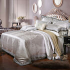 2017 Gray Free ship Queen/King Combed Cotton 4pc duvet cover set/bedding set