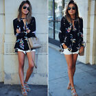 Fashion Women Casual V-Neck Long Sleeve  Floral T Shirt Summer Loose Tops Blouse