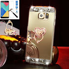 US Shockproof Bling Mirror Soft TPU Silicone Case Metal Stand Cover For Samsung
