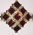 Stunning Authentic Yellow Gold Plated Square Red Crystal Zirconia Cocktail Ring