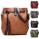 Women PU Leather Shoulder Handbag Messenger Hobo Bag Satchel Tote with Tassel