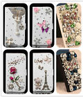 Leather Flip Diamond 3D Rhinestone Flower Wallet Bling Magnetic Card Case Cover
