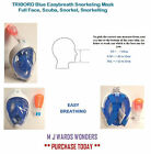 TRIBORD Blue Easybreath Snorkeling Mask Full Face, Scuba, Snorkel, Snorkelling
