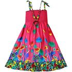 Summer Floral Sundress Girls Beach Dress Red Cotton Sleeveless Knee-Length 2T-5T