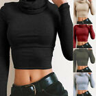 New Womens Turtle Neck Crop Lady Long Sleeve Plain Polo Short Stretch Top P3H
