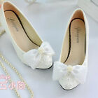 Pearl White Lace Bow Wedding Bridal Shoe High Heels Flat Platform Party Beads