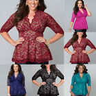 Vintage Womens V Neck 3/4 Sleeve LACE Shirt Casual T-shirt Tops Blouse Plus Size