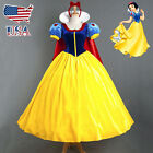 US STOCK Fairy Tale Snow White Princess Costume Long Fancy Dress up Halloween