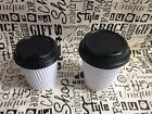 Take Away Triple Wall Coffee Cups (8oz/12oz) Disposable White Matching with Lids
