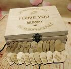 Mothers Day Present Reasons Why I love You Personalised Wooden Hearts Cuts Tags