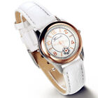 Women's Fashion Round Dial Leather Band Quartz Analog Casual Wrist Watch Watches image