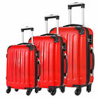 3pcs Travel Luggage Wheel Trolleys Suitcase Bag Hard Shell Cabin Set 20&quot;/24&quot;/28&quot; <br/> Coded Lock,Zipper with Buckle,3 Color: red,white,silver