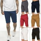 New ENZO Mens Skinny Fit Stretch Cotton Chino Basic Summer Casual Shorts Big
