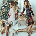 Fashion Women Summer Long Sleeve Lace Floral Party Evening Cocktail Mini Dress