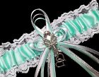 Aqua Blue Green Satin and White Lace Wedding Prom Garter Belt with Rhinestones