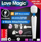 30Mode CORDLESS SAA Magic Wand Personal Massager Vibrator with Head ATTACHMENTS