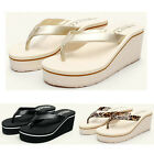 Women Flip Flops Sandals High Heel Wedge Summer Slip On Shoes New 3 Colors