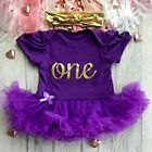 Birthday One outfit in pink with Gold Headband Princess Party dress Baby girl