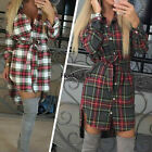 Women Summer Dress Stylish Long Sleeve Plaid Party Cocktail Mini Dress Cotton