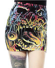 Iron Fist Gothic Goth Grunge Carl Mini Skirt Zombie Print Black
