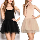 Ladies Girls Womens Casual Solid Ballet costume Dance Contemporary Short Dress